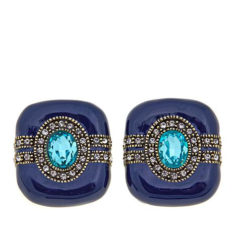 "Heidi Daus ""Super Chic"" Crystal and Enamel Earrings"
