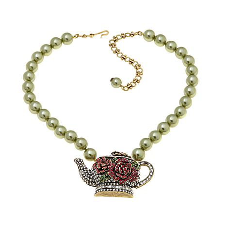 "Heidi Daus ""Tea Time"" Beaded Crystal Drop Necklace"