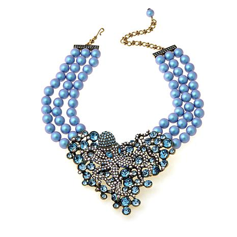 "Heidi Daus ""Water Ballet"" 3-Row Beaded Drop Necklace"