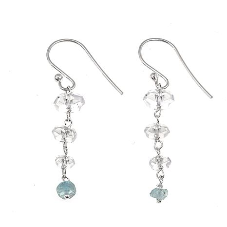 "Herkimer Mines 3.36ctw  ""Diamond"" Quartz and Aquamarine  Earrings"