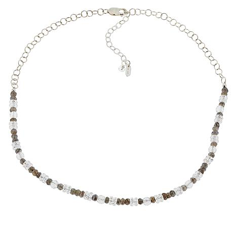 "Herkimer Mines ""Diamond"" Quartz and Colored Gemstone Beaded Necklace"