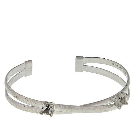 """Herkimer Mines """"Diamond"""" Quartz Criss-Cross """"X"""" Cuff Bracelet"""