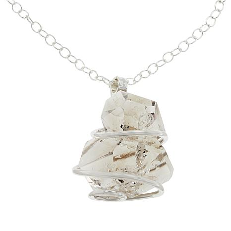 """Herkimer Mines """"Diamond"""" Quartz Wire-Wrapped Cluster Necklace"""