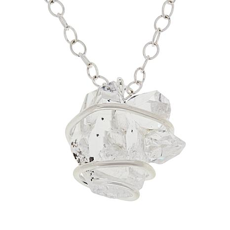 "Herkimer Mines ""Diamond"" Quartz Wire-Wrapped Cluster Necklace"