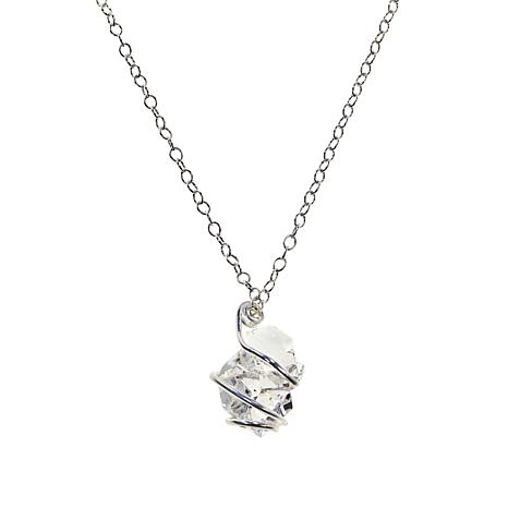 """Herkimer Mines """"Diamond"""" Quartz Wrapped Cluster Pendant with Chain"""