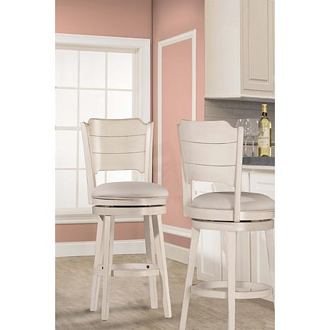 Hillsdale Furniture Clarion Swivel Counter Stool Sea White Wood