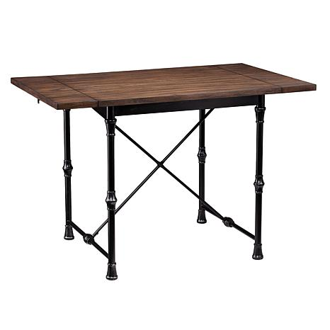 Hilston Industrial/Farmhouse Drop-Leaf Dining Table