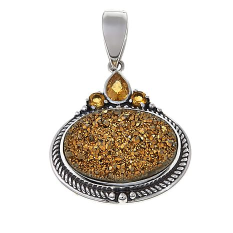 Himalayan Gems™ Goldtone Drusy and Citrine Oval Pendant