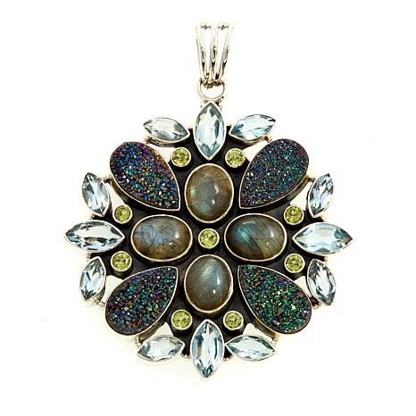 Himalayan Gems™ Green Drusy and Gem Floral Pendant