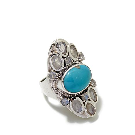 Himalayan Gems™ Turquoise and Moonstone Ring