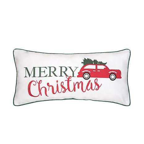 Holiday Car Embroidered Pillow