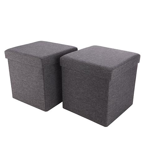 Home36 Folding Linen Storage Ottoman 2-pack