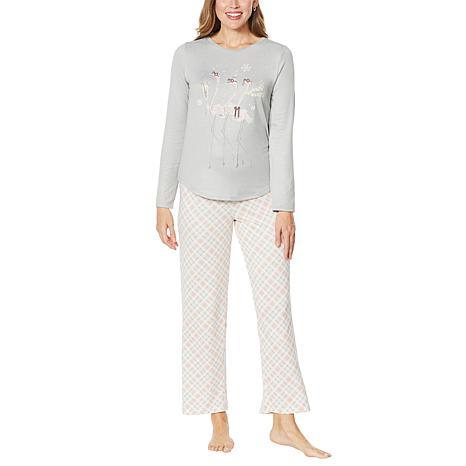 HUE 2-piece Cozy Knit Novelty Pajama Set