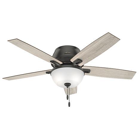 """Hunter 52"""" Donegan Bronze Low Profile Ceiling Fan w Light Kit & Chain"""