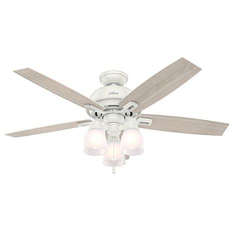 """Hunter 52"""" Donegan Fresh White Ceiling Fan w Light Kit & Pull Chain"""
