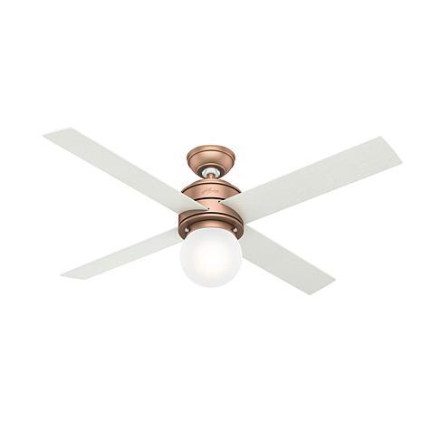 "Hunter 52"" Hepburn Satin Copper Ceiling Fan w Light Kit & Wall Control"