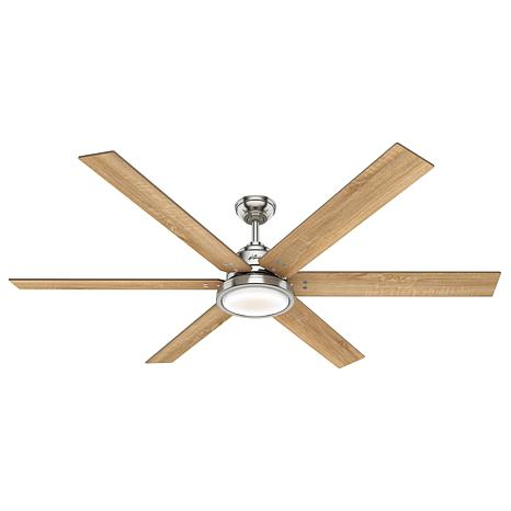 """Hunter 70"""" Warrant Ceiling Fan with Lights and Wall Control - Nickel"""