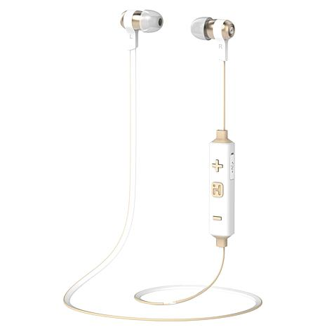 iHome iB39 Wireless Bluetooth Metal Earbuds with Mic & Remote - White