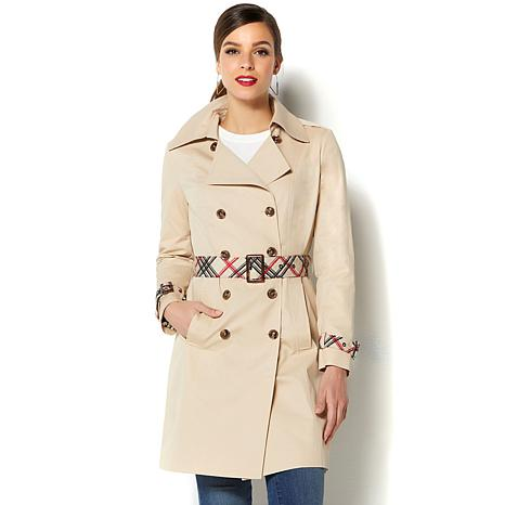 ee163c852e IMAN Global Chic All-Weather Pop of Plaid Luxe Trench Coat - 8749169 ...