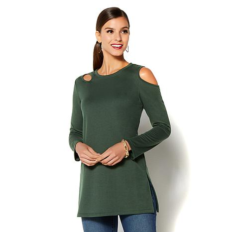 IMAN Global Chic Comfort Luxe French Terry Cutout Tunic