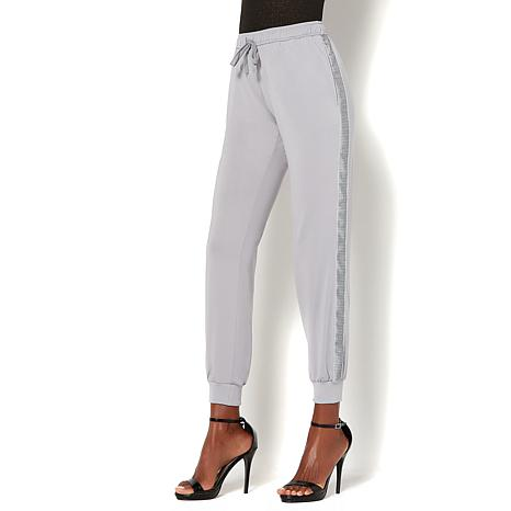 IMAN Global Chic Luxe Sequin Side Panel Jogger Pant
