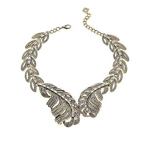 IMAN Global Chic Simply Gorgeous Jeweled Leaf Necklace
