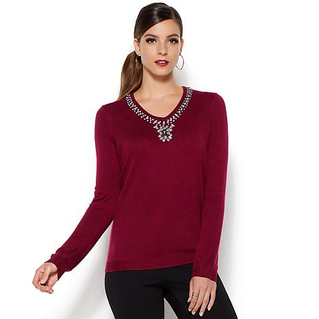 IMAN Platinum Touch of Cashmere Jeweled Sweater