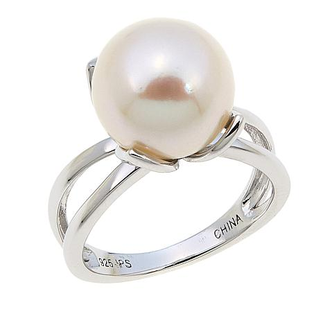 Imperial Pearls 11-12mm Cultured Pearl Sterling Silver Tulip Ring