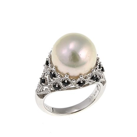 Imperial Pearls 12-13mm Cultured  Pearl and Black Spinel Crown Ring