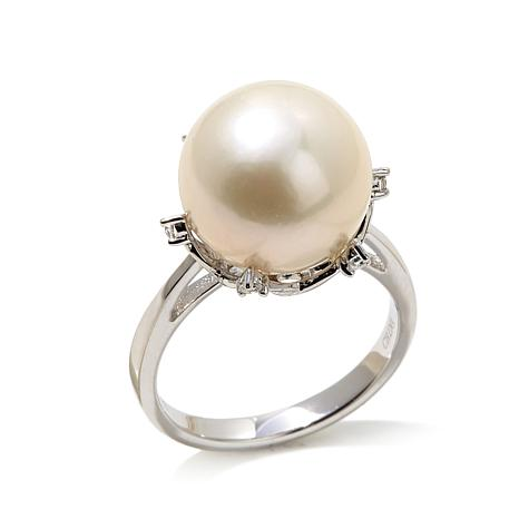 Imperial Pearls 12-13mm Cultured Pearl and White Topaz Tulip Ring