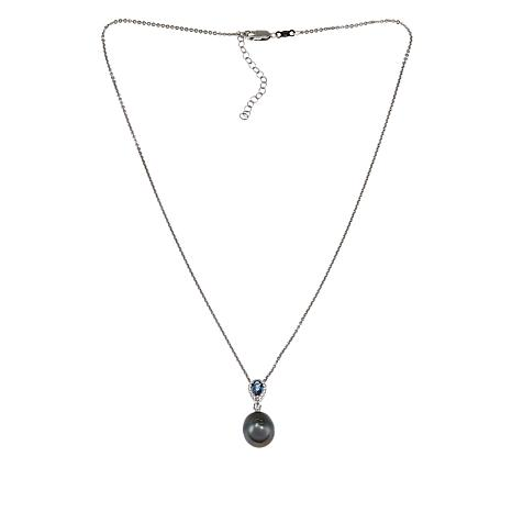 """Imperial Pearls 18"""" Topaz and Cultured Tahitian Pearl Drop Necklace"""