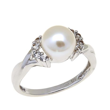 Imperial Pearls 8-8.5mm Cultured Pearl & Topaz Ring