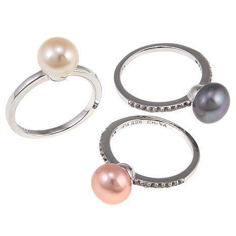 Imperial Pearls 8-9mm Multi Cultured Pearl 3-piece Ring Set