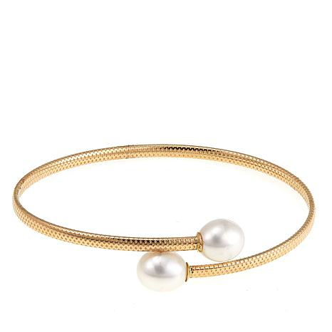 Imperial Pearls 8-9mm White Cultured Pearl Flexible Cuff Bracelet