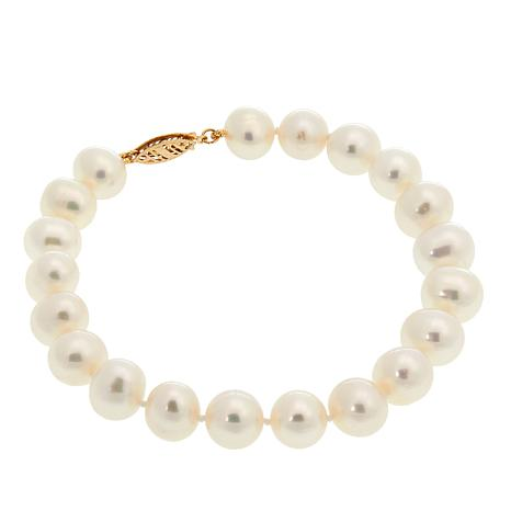 "Imperial Pearls 8.5-9.5mm Cultured Freshwater Pearl 14K 8"" Bracelet"