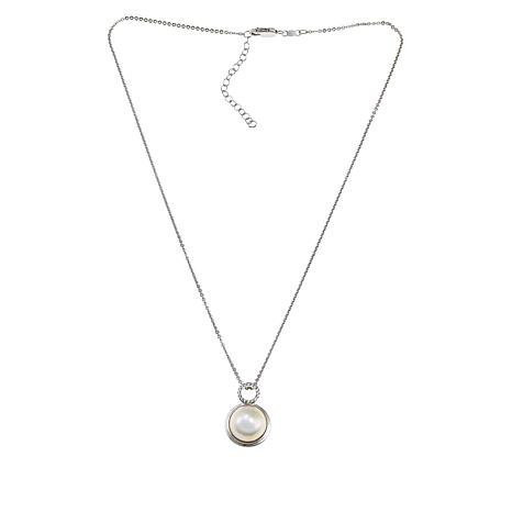 Imperial Pearls Cultured Mabé Pearl and White Topaz Circle Pendant