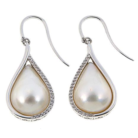 Imperial Pearls Cultured Mabé Pearl and White Topaz Pear Earrings