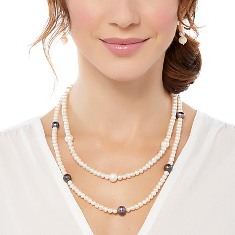 """Imperial Pearls Peacock & White Cultured Pearl 20"""" Station Necklace"""