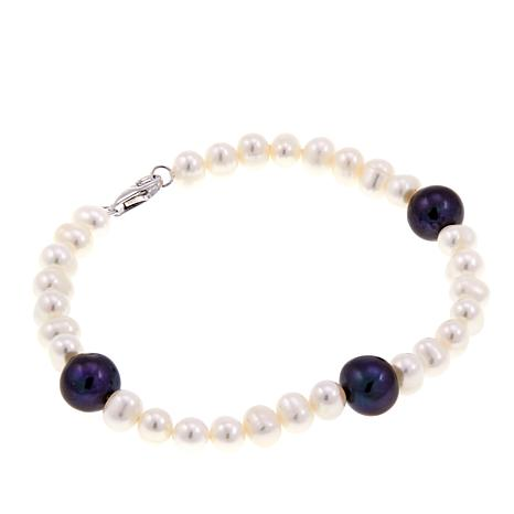"""Imperial Pearls Peacock & White Cultured Pearl 8"""" Station Bracelet"""