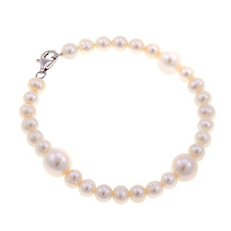 "Imperial Pearls White Cultured Pearl 7-1/2"" Station Bracelet"