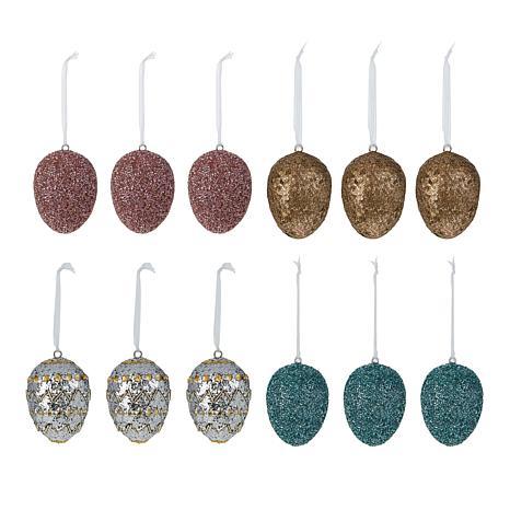 Improvements Set of 12 Handmade Jeweled Egg Ornaments