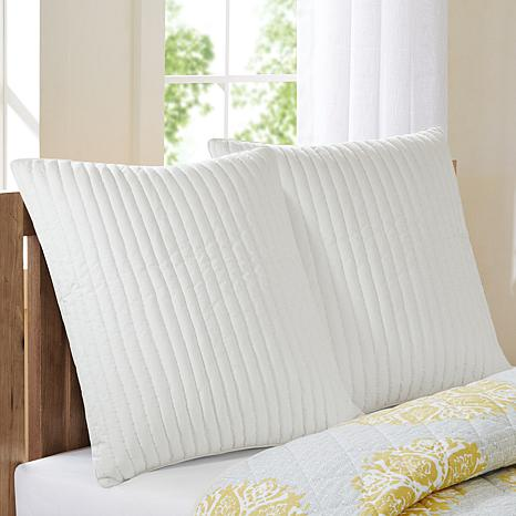 "INK+IVY Camila Cotton Quilted Euro Sham - White - 26"" x 26"""