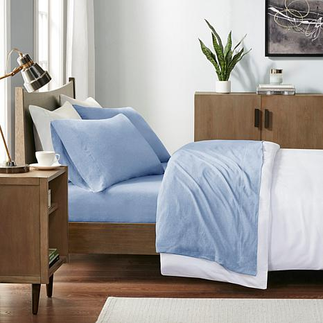 INK+IVY Heathered Cotton Jersey Blue Sheet Set - Twin XL