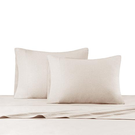 INK+IVY Heathered Cotton Jersey Natural Sheet Set - Twin