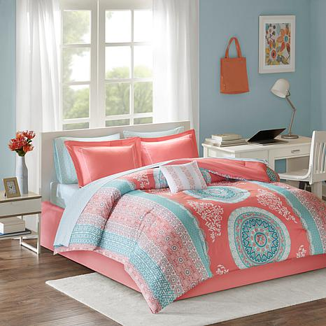 Intelligent Design Loretta Coral Twin Comforter and Sheet Set