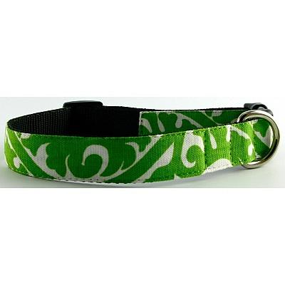 Isabella Cane Buddha Cotton Dog Collar - Green Medium