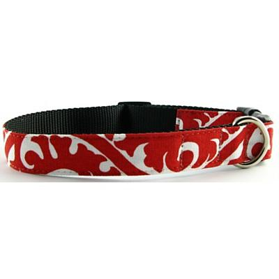 Isabella Cane Buddha Cotton Dog Collar - Red Small