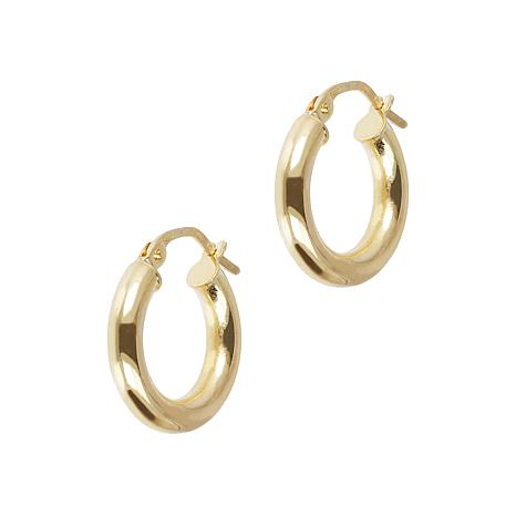 Italian Gold 14K Yellow Gold Mini Round Hoop Earrings