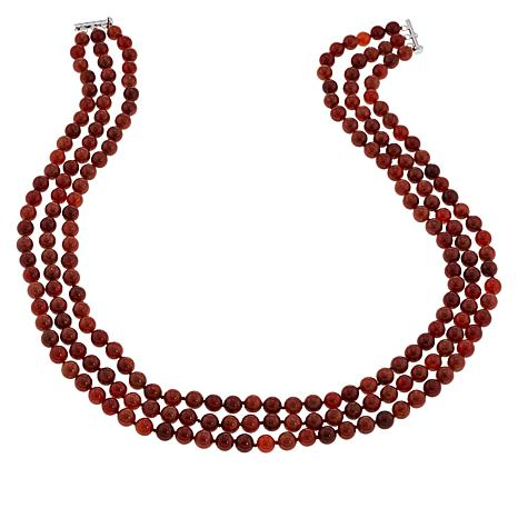 Jade of Yesteryear 3-Strand Red Jade Bead Necklace