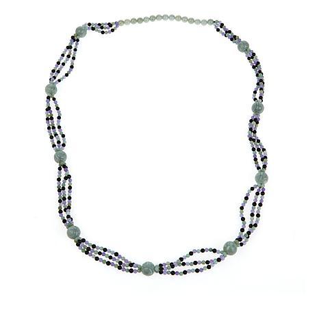 "Jade of Yesteryear 36"" Multi-Color Jade Bead Necklace"